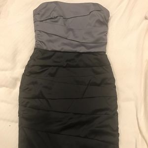 Strapless Silver and Black Cocktail Dress (WHBM)